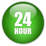 24 hour. Twenty four hour green icon Royalty Free Stock Image