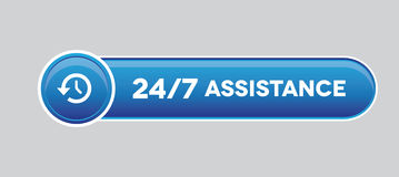 24 hour assistance button. Vecor Royalty Free Stock Image