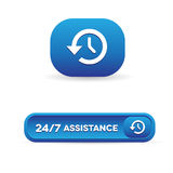 24 hour assistance button. Vecor Royalty Free Stock Images