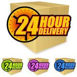 24 Hour Delivery. A set of four icons promoting 24 hour delivery. Shadows placed on separate layer for ease of use Stock Photo