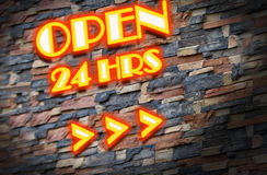 24 hour drive through. Illustration of a neon sign Royalty Free Stock Photography