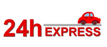 24 hour express sign. With a car Royalty Free Stock Images