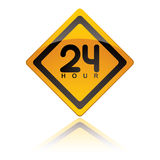 24 Hour icons. Bright yellow 24 hour icon symbol with reflection in white background Stock Image