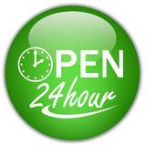 24 hour open. Open twenty four hour sign Stock Photo