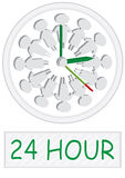 24 Hour People Working Clock_eps. Illustration of people clock with 24 hour  word on white background Royalty Free Stock Images