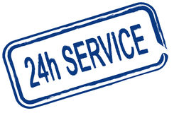 24 hour service. An illustrated stamp offers a 24 hour service. All isolated on white background Stock Photos