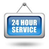 24 hour service. Signboard isolated on white background Stock Photo