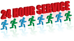 24 hour service. Concepts, customer service 24 hours. On the white background. EPS8+JPG Royalty Free Stock Image