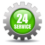 24 hour service. Green icon Stock Photography