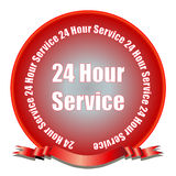 24 Hour Service Seal. A red gradient seal with 24 hour service and ribbon Stock Photos