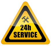 24 hour service sign. Isolated on white background Stock Image