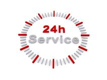 24 hour service sign. Illustration of 24 hour service sign with clock face, white background Stock Photos