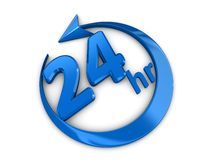 24 hour sign. 3d rendering,  on white background, 24 hour service sign Stock Images