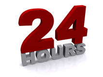 24 hours. Three dimensional rendering of the number 24 and the word hours.  White background Stock Images
