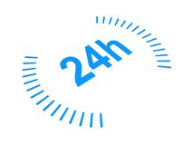 24 Hours. Conceptual idea of 24 hours isolated on white royalty free stock photography
