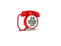 24 Hours. A clock/phone portraying the concept of phones being available 24 hours a day stock illustration