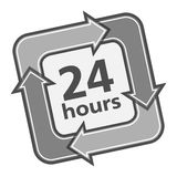 24 Hours. Badge on white background Stock Photos