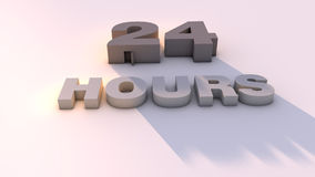 24 hours. 3d design. 24 hours text and day light Royalty Free Stock Image