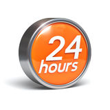 24 hours - 3D button. With clipping path Stock Photos
