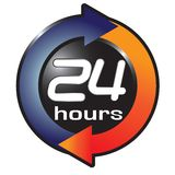 24 hours. Illustration of 24 hours symbol isolated over white background vector illustration