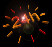 24 hours around the clock symbol. 24 h round the clock 3D symbol with lens flare Royalty Free Stock Photography