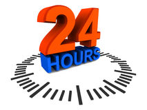 24 hours availability. 24 hours support concept, 3d render with clock dial and 24 hours text royalty free illustration