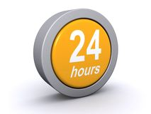 24 hours button. 24 hours icon or button.  3d graphic isolated Stock Photography