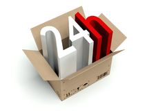 24 hours cardboard box  on white. Background Royalty Free Stock Photos