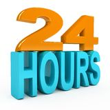 24 hours concept over white background. 3d rendered image Royalty Free Stock Image