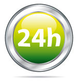 24 hours delivery icon. 24 hours delivery. Green glass ball icon Stock Image