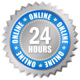 24 hours online service. 24 hour online service sign isolated on white background Royalty Free Stock Photos