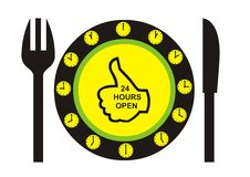 24 Hours Open Restaurant. A illustration for a cafe or restaurant Royalty Free Stock Images