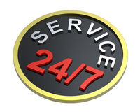 24 hours seven days a week service sign over white. Computer generated 3D photo rendering Stock Photography