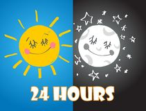 24 hours sign. Vector. Stock Image