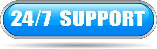 Free 24 Hours Support Web Button Blue Royalty Free Stock Photo - 118316315