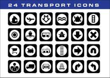 24 icone di trasporto Fotografia Stock