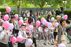 24 may - pink balloons. Celebration of Bulgarian Education and Culture, and Slavonic Literature Day (Saints Cyril and Methodius Day) in Bourgas Royalty Free Stock Photography