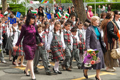 24 may - school. Celebration of Bulgarian Education and Culture, and Slavonic Literature Day (Saints Cyril and Methodius Day) in Bourgas royalty free stock image