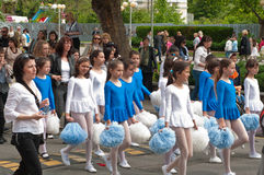 24 may - white - blue dancers. Celebration of Bulgarian Education and Culture, and Slavonic Literature Day (Saints Cyril and Methodius Day) in Bourgas Royalty Free Stock Image