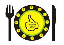 24 ore aprono il ristorante Immagini Stock Libere da Diritti