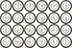 24 orologi ogni mezza ora Fotografia Stock Libera da Diritti