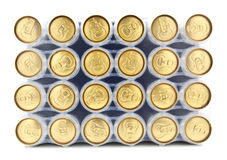 24 Pack of Beer Cans. On white stock image