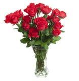 24 rosas no vaso de vidro Foto de Stock