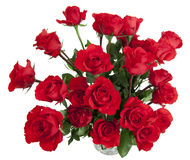 24 Rosen im Glasvase Lizenzfreies Stockbild