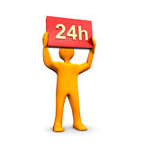 24 Service. 3d illustration looks a humanoid person with 24h text in the hands Stock Photos