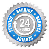 24 service. 24 hours service icon over white Stock Images