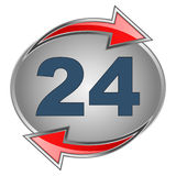 24 sign. Illustration of 24 hours icon with red arrows Stock Photos