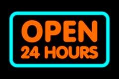 24 timmar öppnar Arkivbild