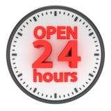 24 timmar öppnar Royaltyfri Fotografi