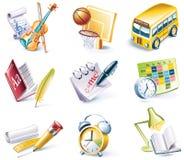 24 vektor för stil för skola för tecknad filmsymbolsdel set Royaltyfria Bilder